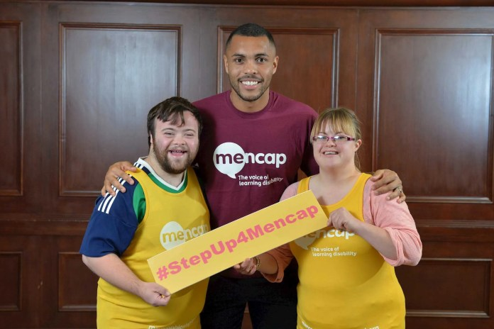 football star Josh Magennis with Mencap Young Ambassadors James Martin and Barbara Norris
