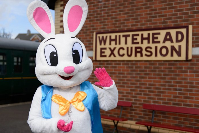 Easter Bunny at Whitehead Railway Museum