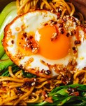 Noodles with crispy chilli oil eggs