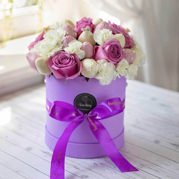 Purple Roses with Chocolate Strawberries