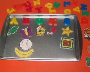use a cookie sheet for magnets while traveling