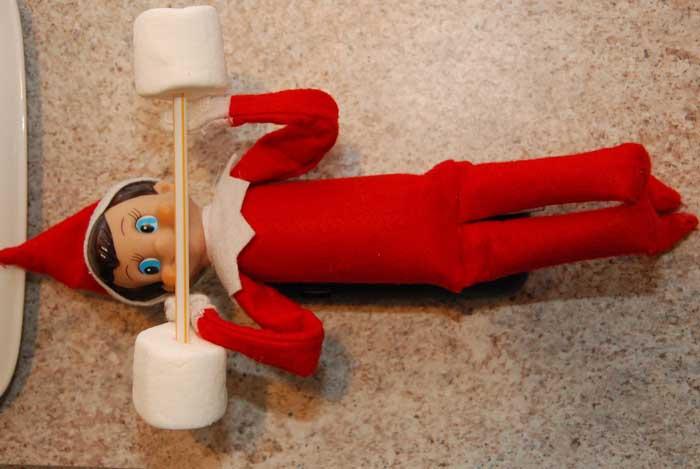Elf on the Shelf Ideas - Elf Lifting Weights
