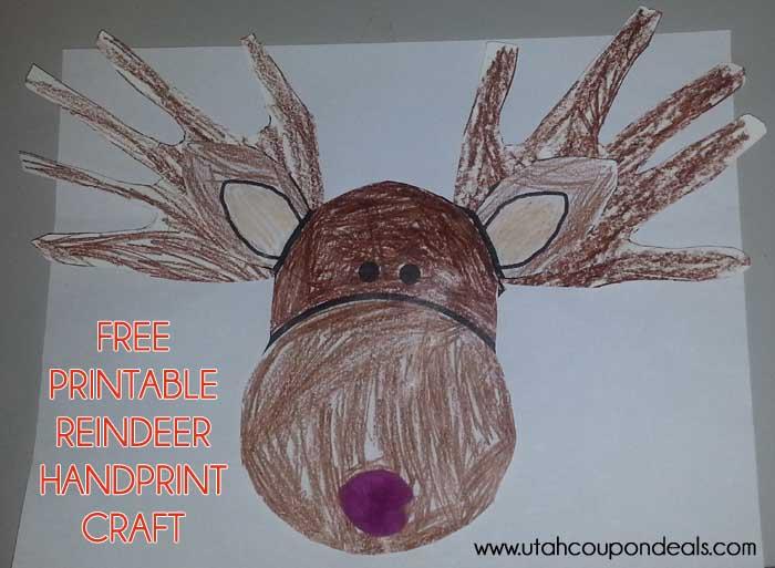 Printable Reindeer Face Craft (Antlers or Handprints)