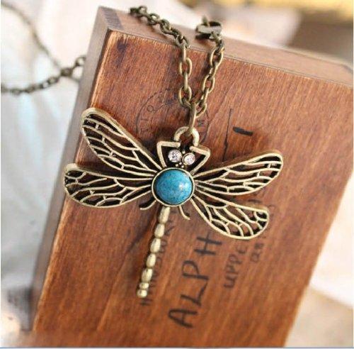 Classic vintage Bronze dragonfly pendant necklace chain
