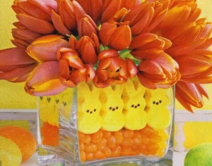 Peeps Easter centerpiece with flowers