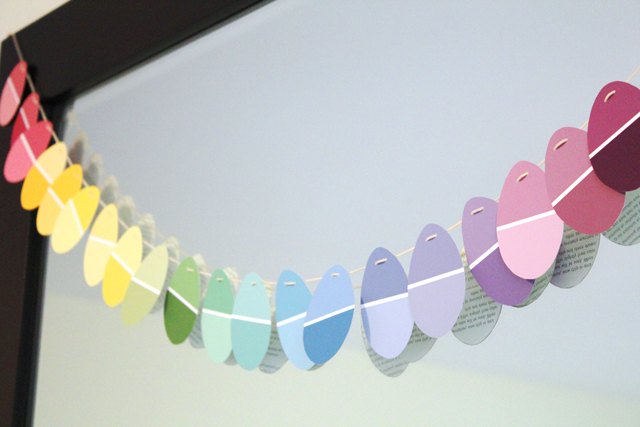 15 Easter Craft Ideas {chicks, bunnies, lambs, and more} - DIY Paint Chip Easter Garland