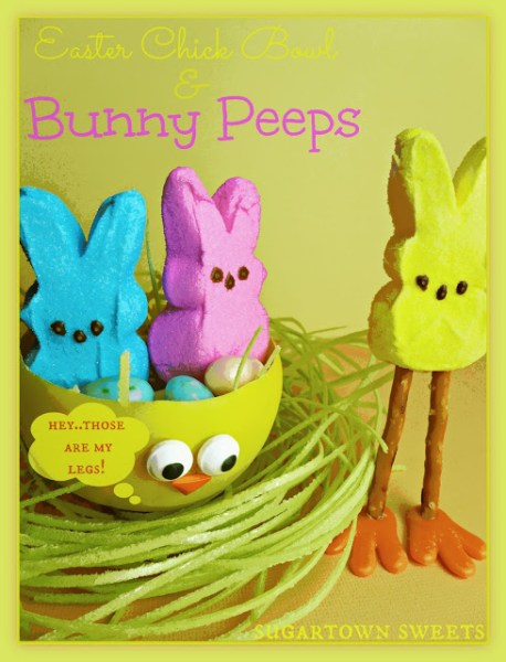 Easter Chick Chocolate Bowl & Bunny Peeps