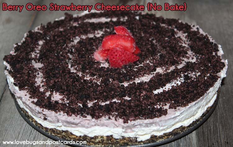 Berry Oreo Strawberry {No Bake} Cheesecake Recipe