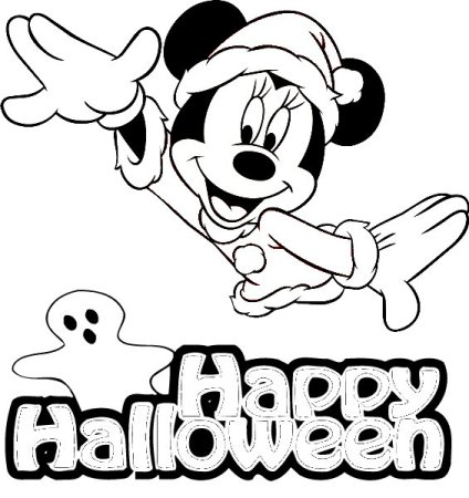 Minnie Mouse - Free Disney Halloween Coloring Pages
