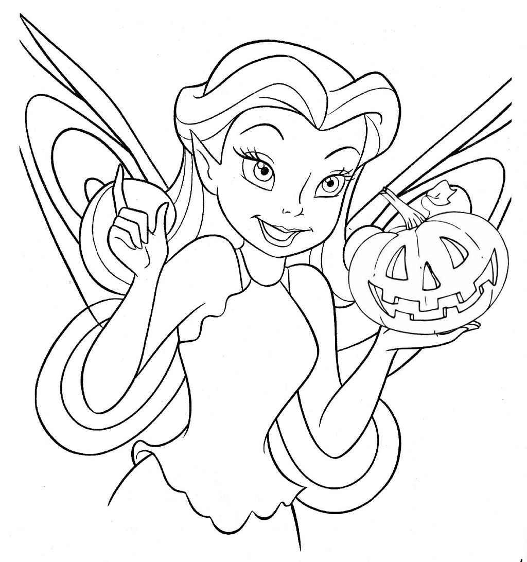 tinkerbell free disney halloween coloring pages - Coloring Pages Of Halloween