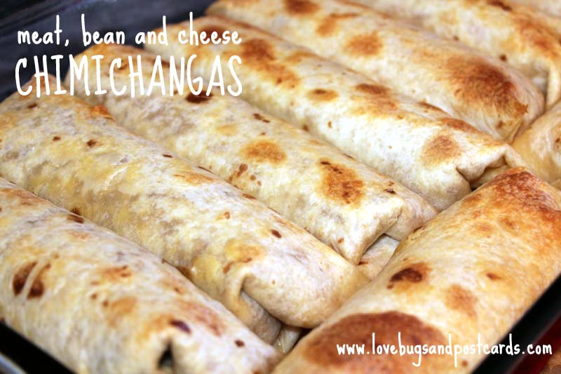 Meat, Bean and Cheese Chimichangas
