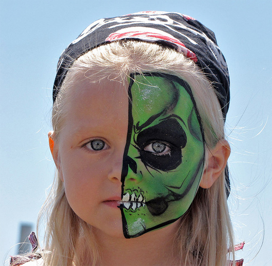 Girl Demon Face Painting