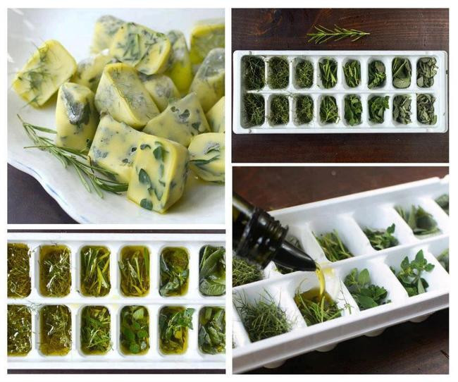 Cut fresh herbs and put them into an ice cube tray with melted butter or olive oil and freeze.