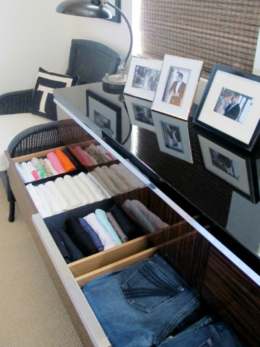 Use shoe boxes to organize your shirts/pants. this would be great for the shelves of your closet