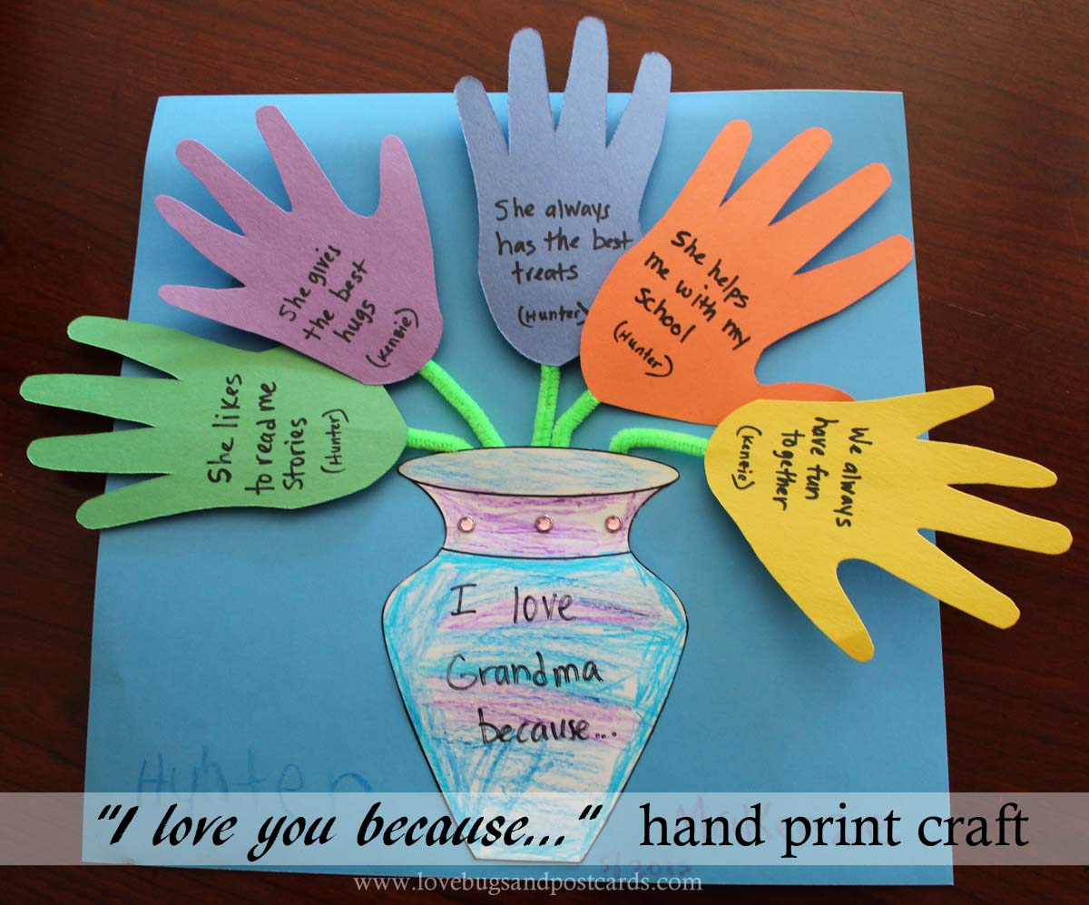 "Mother's Day ""I love you because..."" Hand print Craft"