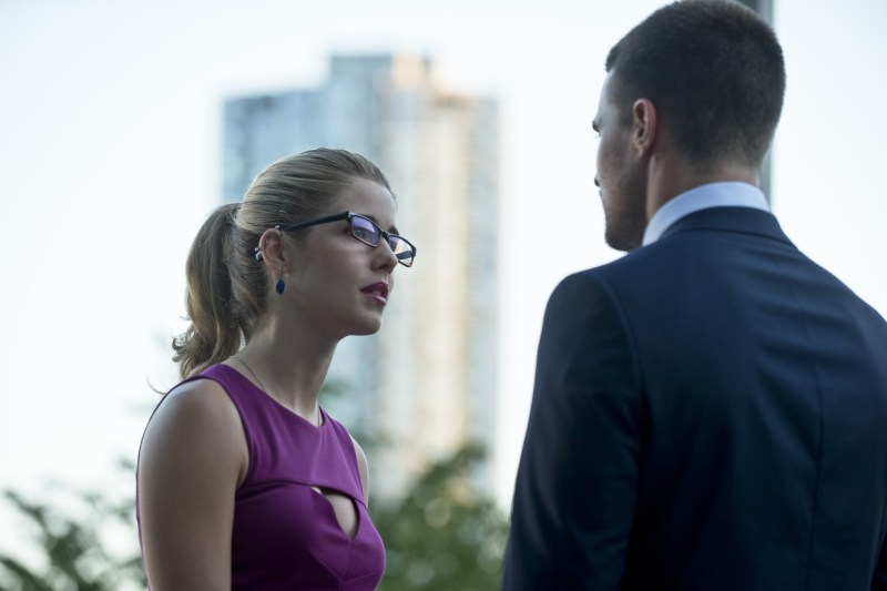 "Arrow -- ""The Calm"" -- Image AR301b_0178b -- Pictured (L-R): Emily Bett Rickards as Felicity Smoak and Stephen Amell as Oliver Queen -- Photo: Cate Cameron/The CW -- © 2014 The CW Network, LLC. All Rights Reserved."