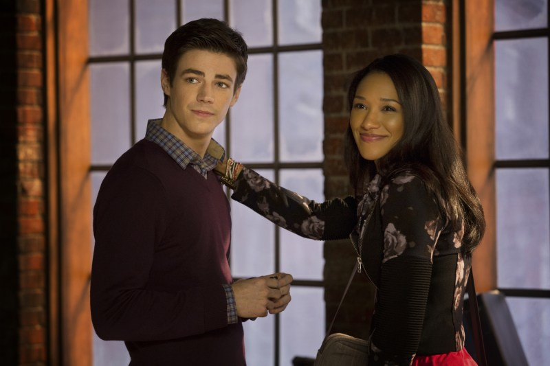 """The Flash -- """"Pilot"""" -- Image FLA101b_0360 -- Pictured (L-R): Grant Gustin as Barry Allen and Candice Patton as Iris West -- Photo: Jack Rowand/The CW -- © 2014 The CW Network, LLC. All rights reserved"""