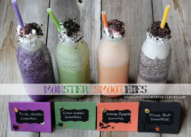 Monster Smoothies (Black, Purple, Orange and Green)
