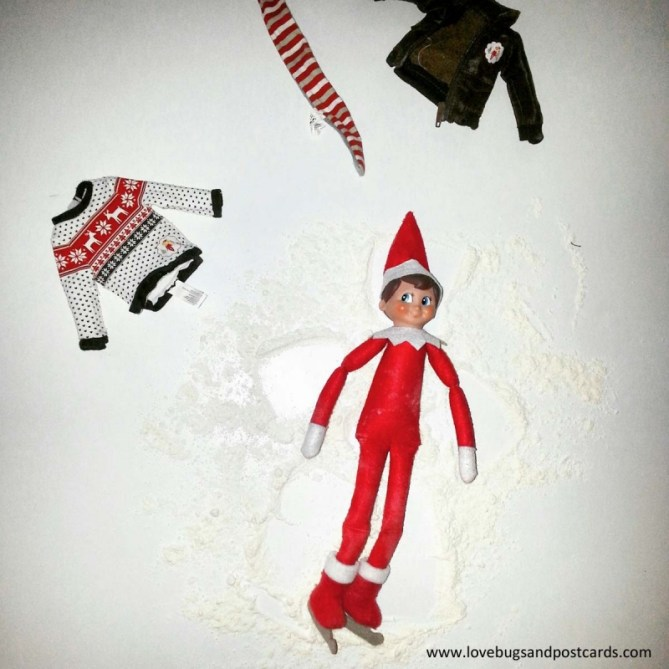 Elf on the Shelf Ideas - Elf Angel with Snow (flour)