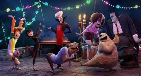 Johnny (Andy Samberg), Mavis (Selena Gomez), Dracula (Adam Sandler), Wayne (Steve Buscemi), Eunic (Fran Drescher), Frank (Kevin James), Mummy the Mummy in Columbia Pictures' HOTEL TRANSYLVANIA 2.