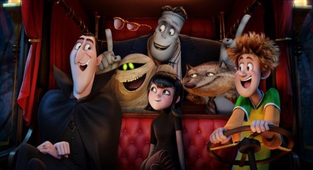 Dracula (Adam Sandler), Griffin the Invisible Man (David Spade), Murray the Mummy, Frank (Kevin James), Mavis (Selena Gomez), Wayne (Steve Buscemi), and Johnny (Andy Samberg) in Columbia Pictures' and Sony Pictures Animation's Hotel Transylvania 2.