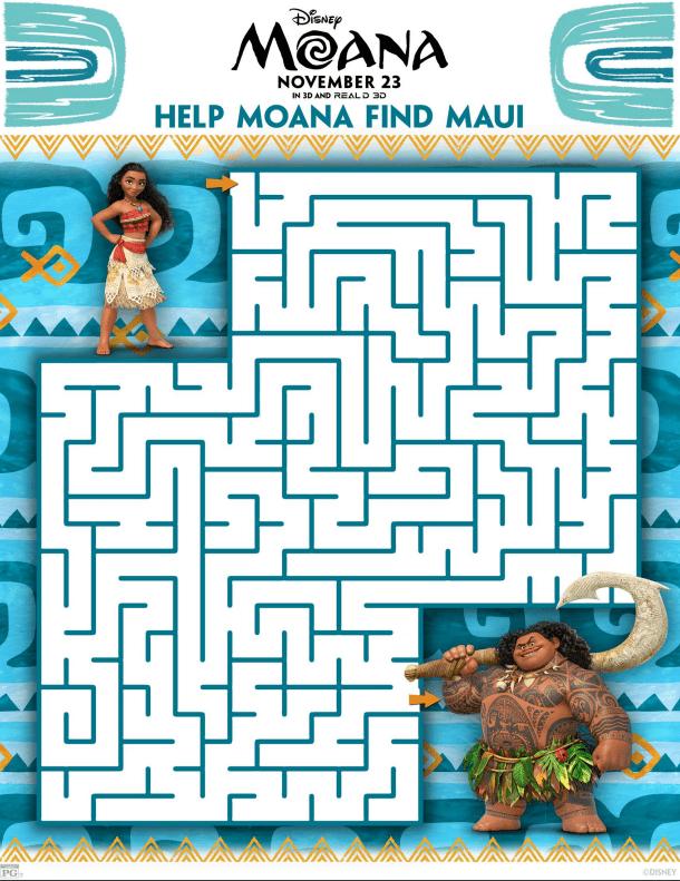Disney's MOANA Maze Activity Sheet