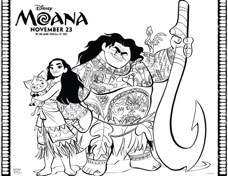 MOANA & Friends Coloring Page - Disney's Moana