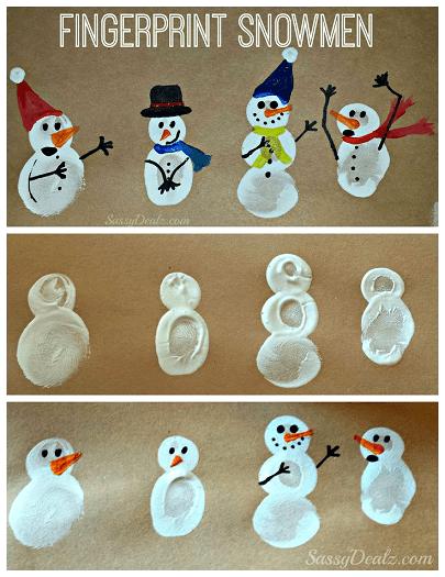 Fingerprint Snowman Craft for Kids