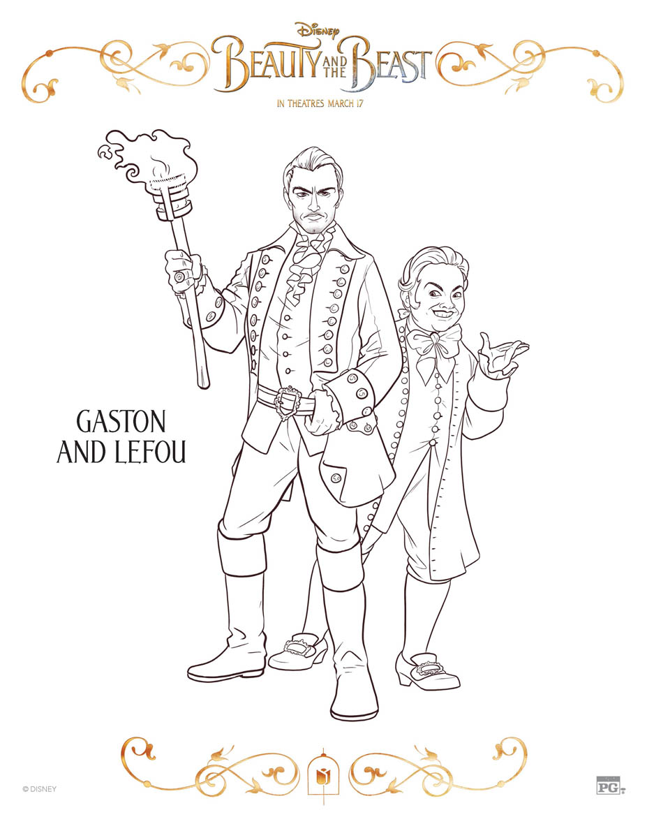 Gaston and Lefou Coloring Page