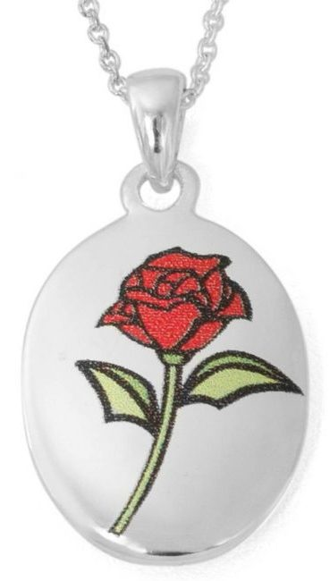 """Disney Silver-Plated Beauty and the Beast """"Beauty Is Found Within"""" Rose Pendant, 18"""" Chain"""
