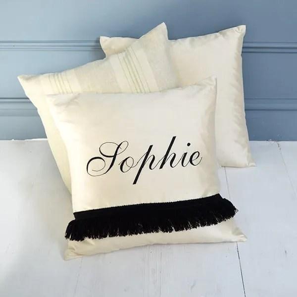 MiaFleur- Handmade Cream Silk Personalised Cushion £32
