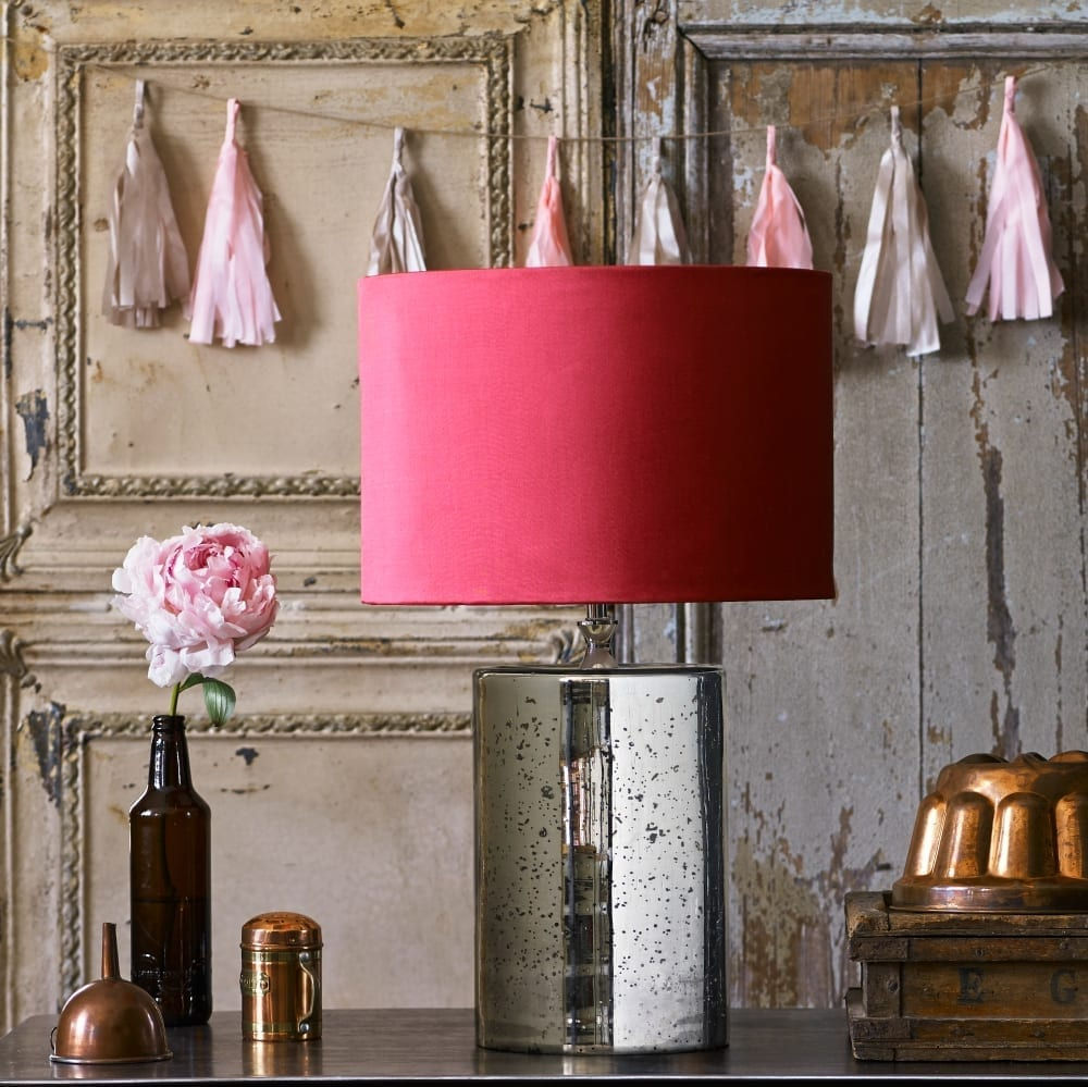 Pooky, Alvie table lamp in Mercurised, Raspberry Silk shade
