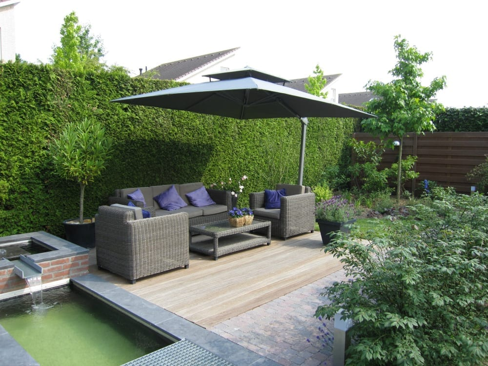 Sunny seating area plus water feature