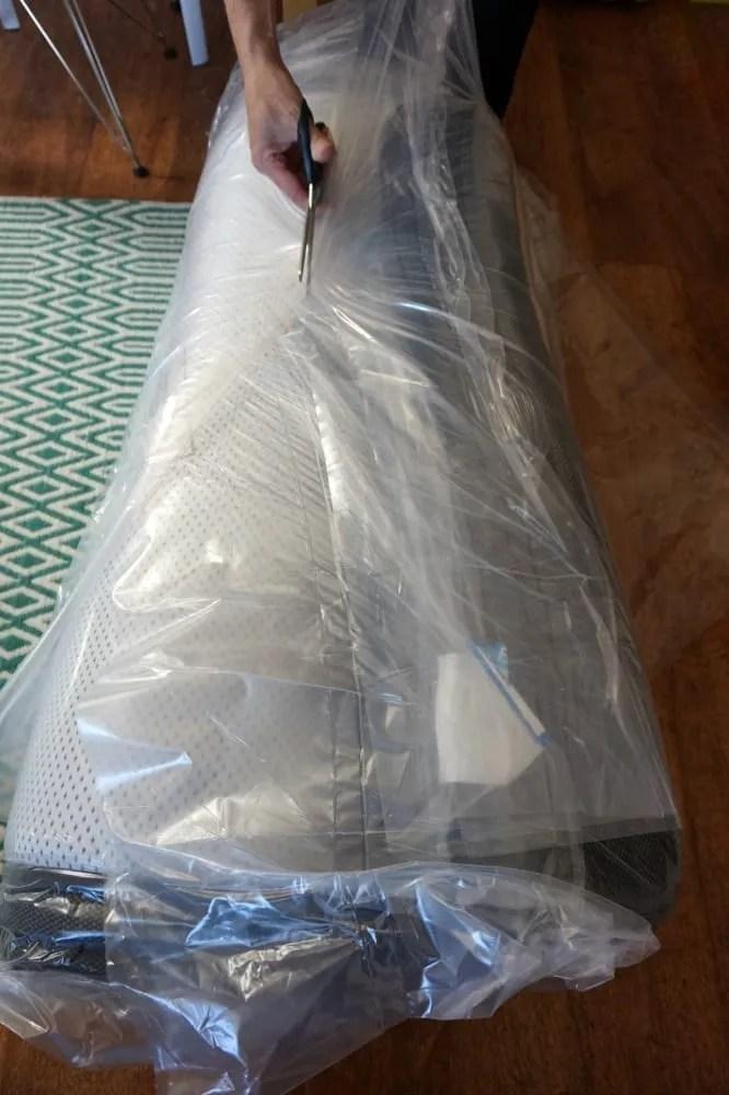 Unpacking sleeping duck mattress
