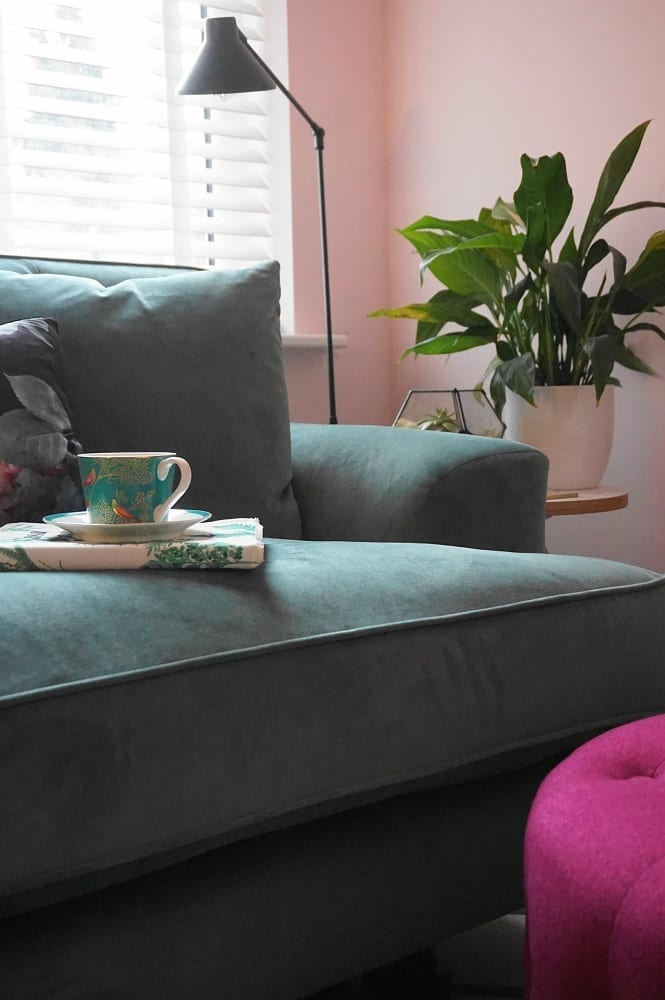 The stunning Charnwood Loveseat in Aqua velvet from Darlings of Chelsea has to be one of the most comfortable compact, small sofas ever. #smallsofa #loveseat #velvetsofa #greensofa