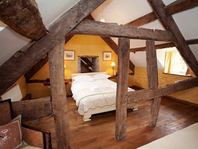 Old cottage bedroom with original beams