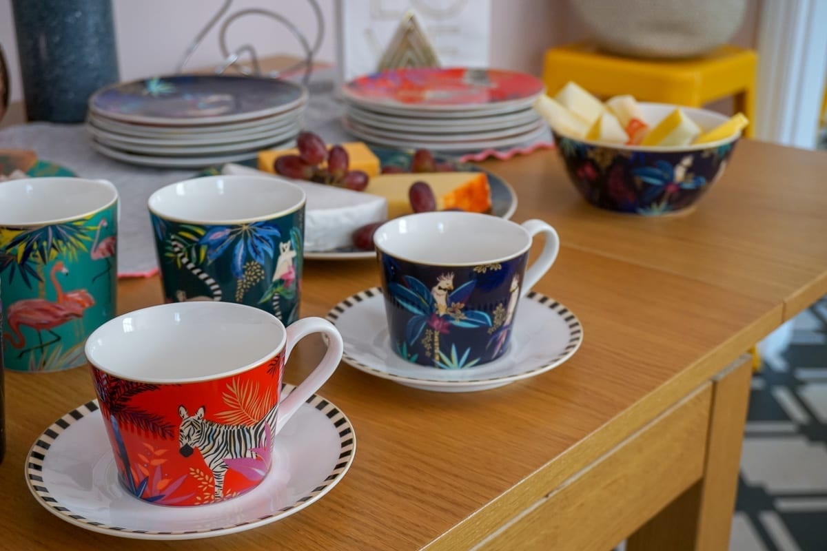 Colourful teacups