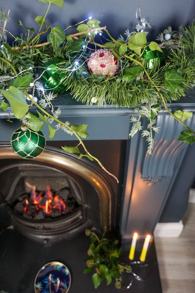 colourful fireplace Christmas decorating idea