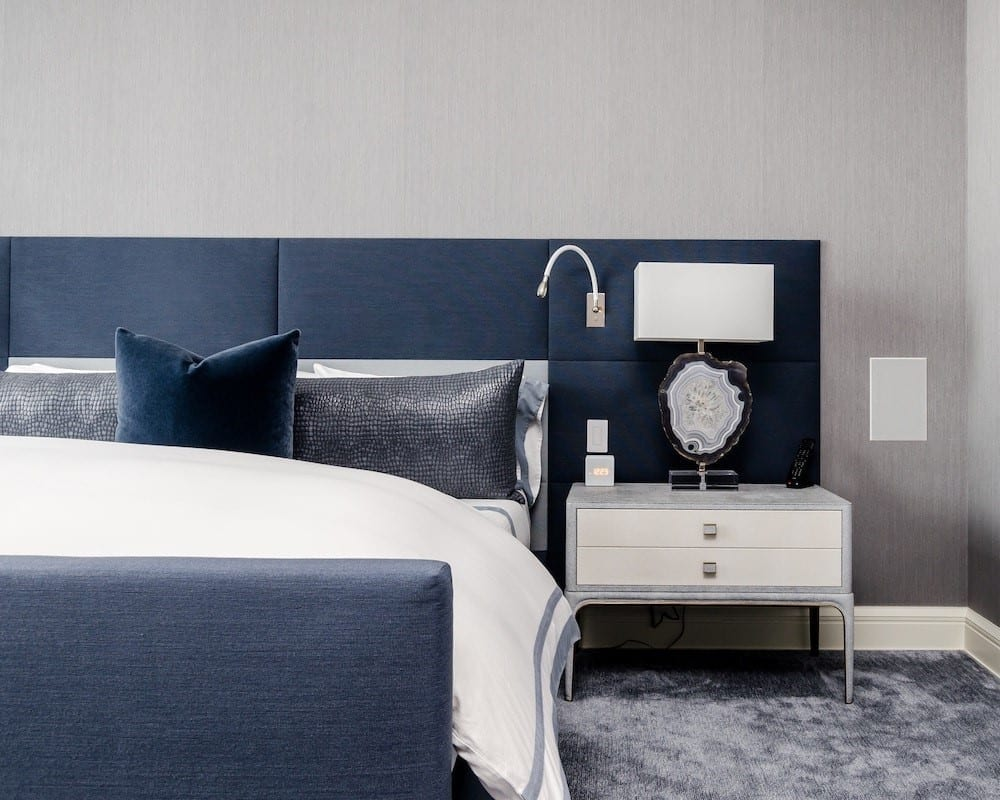 Sapphire and white bedroom décor