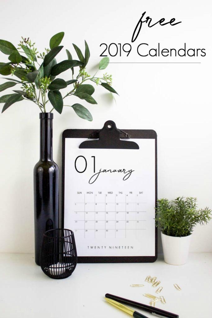 Zdobądź DARMOWY Kalendarz 2019 do druku. UWIELBIAM projektowanie tych pięknych, nowoczesnych kalendarzy! Chwyć swoją i pozostań zorganizowany w tym roku! #calendar #organisation # 2019 #monthlycalendar # free #freeprintable