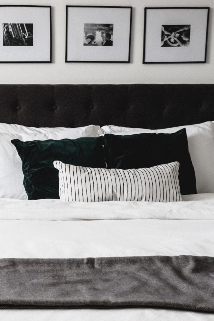 white thin stripe lumbar pillow cover