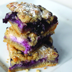 Blueberry & almond sour cream crumble bars