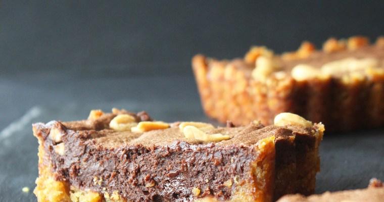Crisps, chocolate and peanut tart