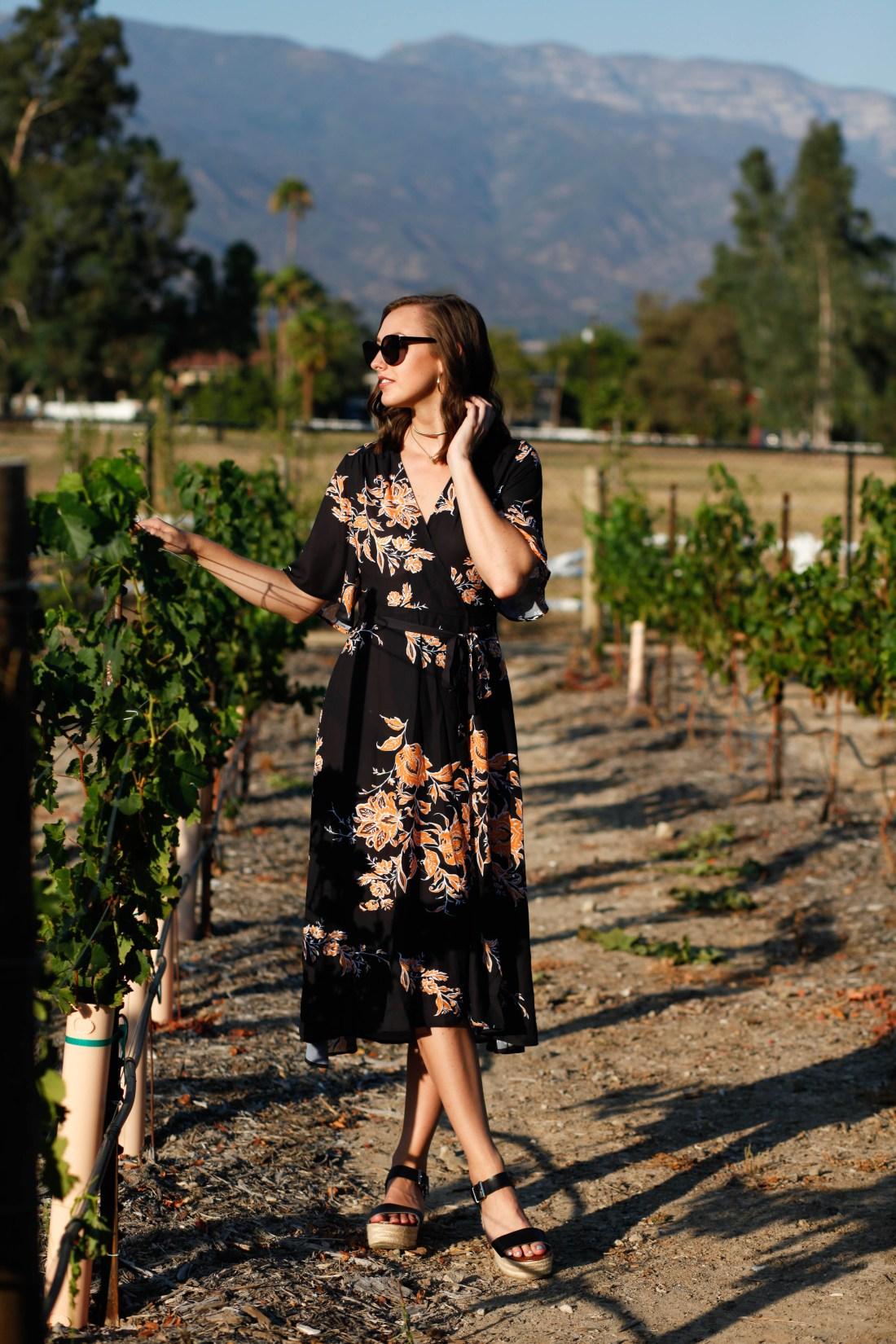 Topa Mountain Winery vineyard wrap dress summer outfit