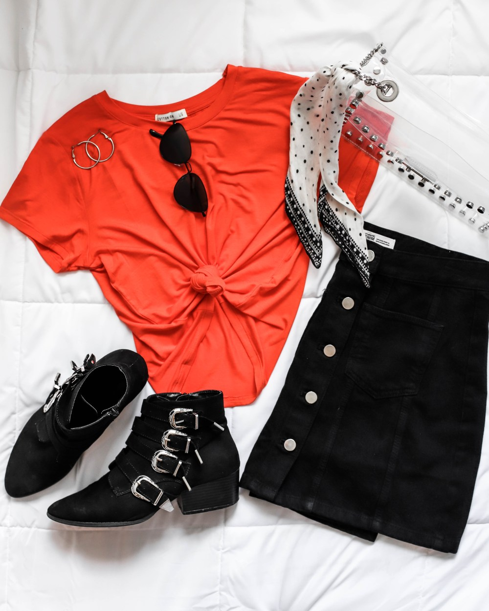 orange and black game day outfit clear bag budget fashion