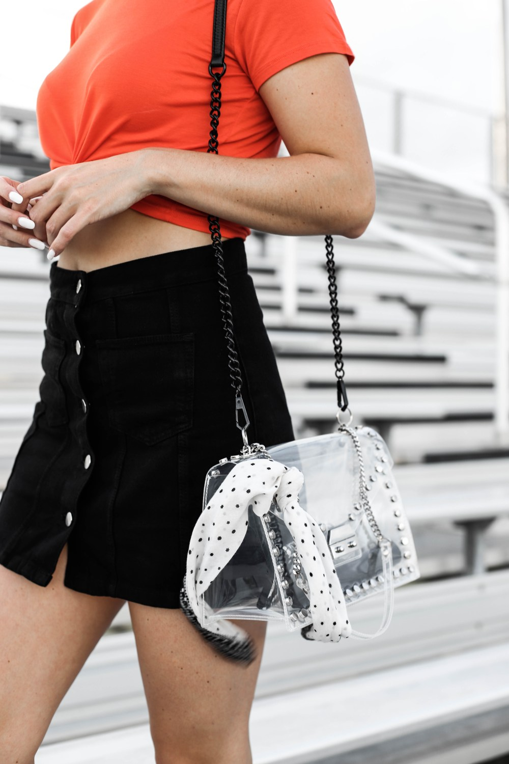 black button up skirt clear stadium bag zara bag scarf orange and black