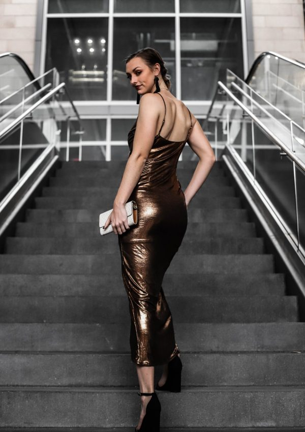 new years eve outfit inspiration bronze party dress