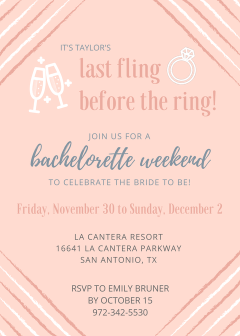 bachelorette weekend party invitation san antonio