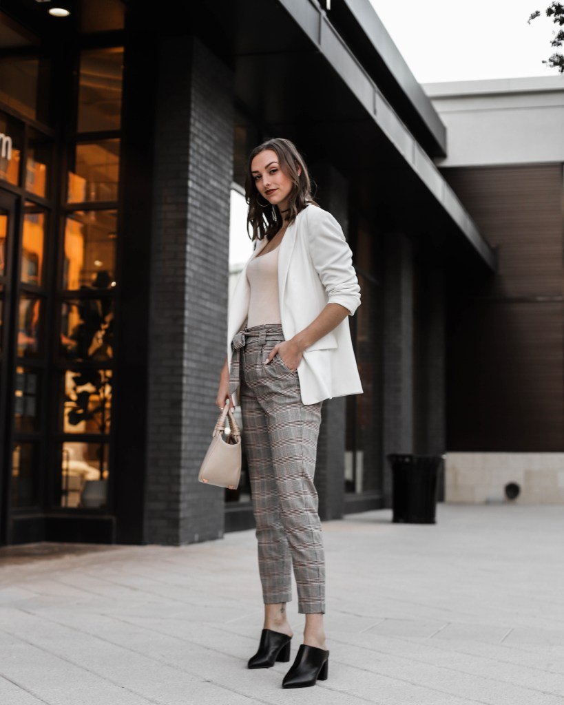 Love Emmarie workwear outfit with white blazer plaid pants and mules
