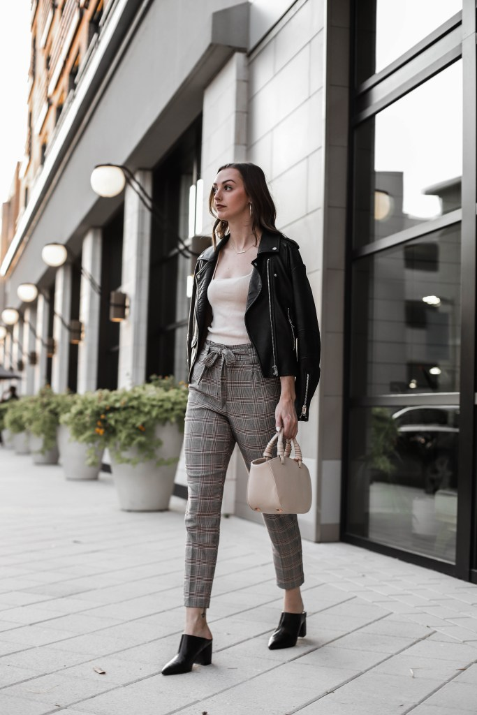 workwear outfit black leather jacket and plaid pants
